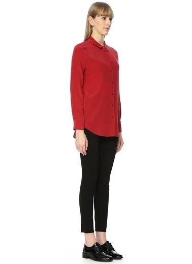 Equipment Uzun Kollu İpek Gömlek Kırmızı